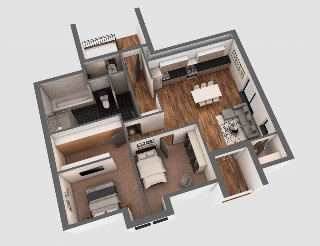 3D Visualisierung Hösbach - Dachgeschoss (E)