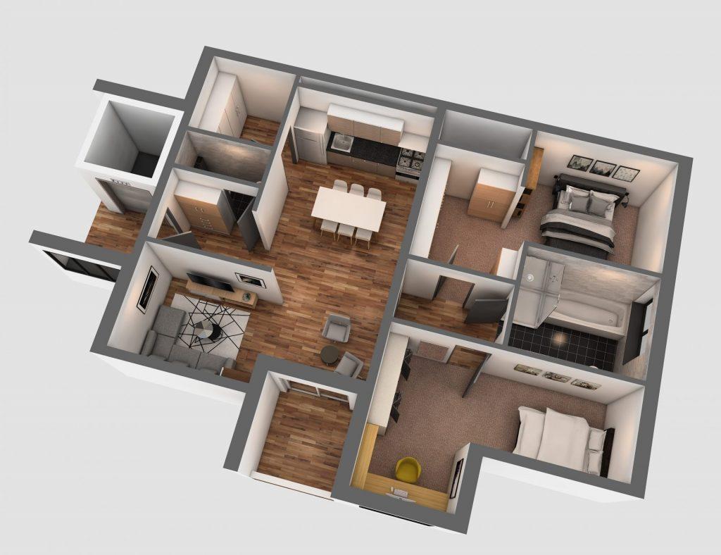 3D Visualisierung Hösbach - Dachgeschoss (F)