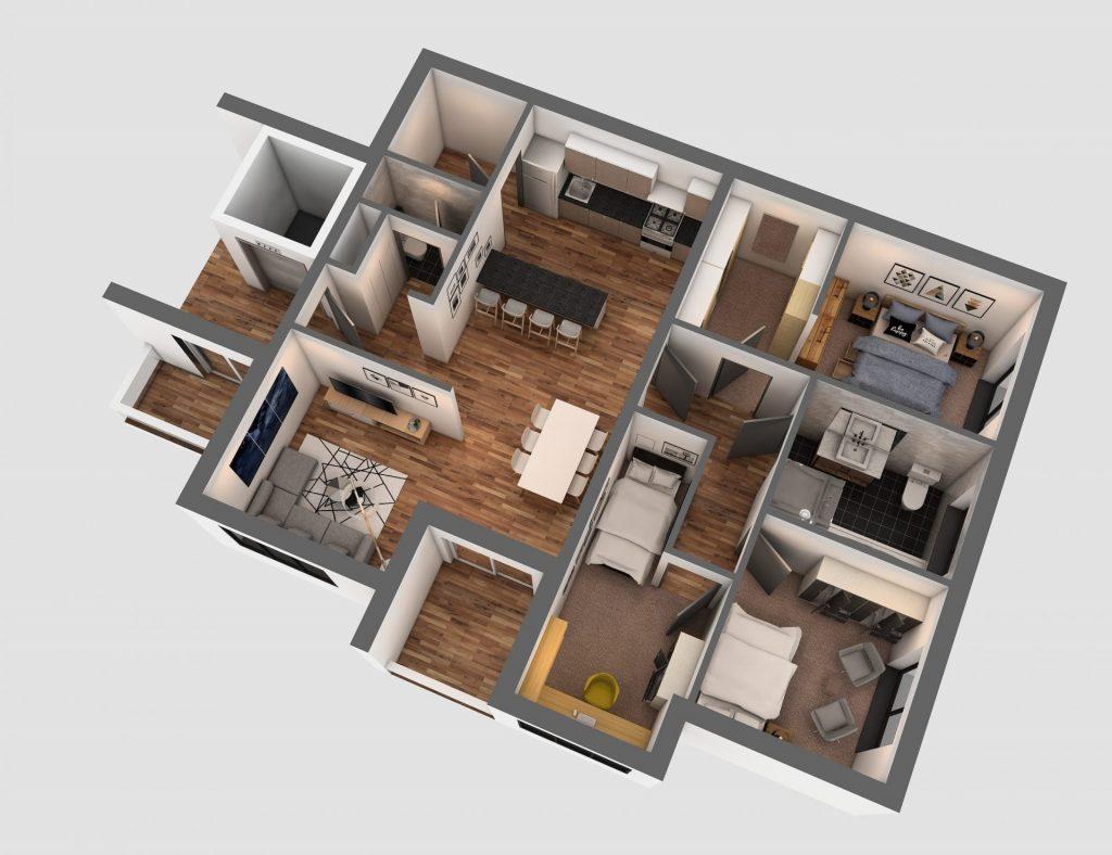 3D Visualisierung Hösbach - Obergeschoss (C)
