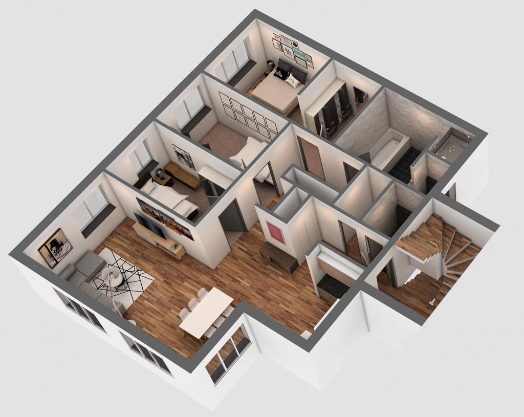 3D Visualisierung Hösbach - Obergeschoss (D)